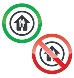 Young family house permission signs vector