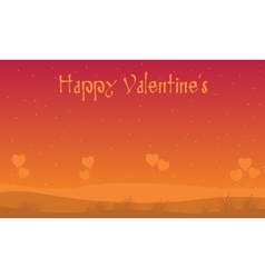 Hill scenery with valentine backgrounds vector