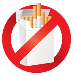 No smoking on the dangers of smoking cigarette vector