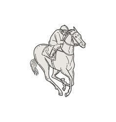 Jockey riding thoroughbred horse mono line vector