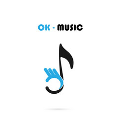 human hand icon with musical note logo design vector image