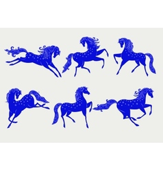Collection of blue horses vector