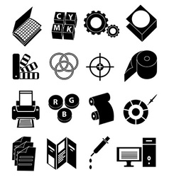Print press icons set vector