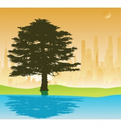 Tree and cityscape vector