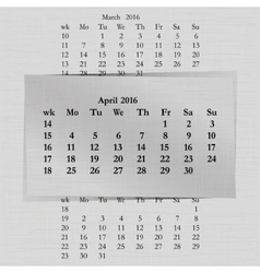 Calendar month for 2016 pages april start monday vector