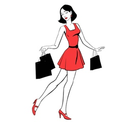 Beautiful girl with purchases vector