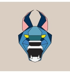 Blue low poly wild cat vector