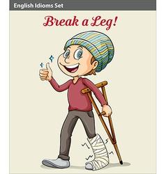 A boy with a broken leg vector