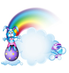 A bunny above the egg near the rainbow vector image