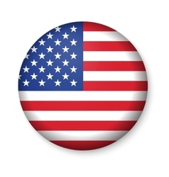 American United States Flag in glossy round button vector image vector image