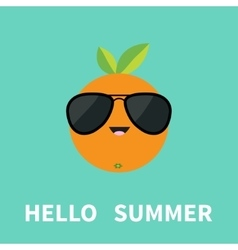 Big orange citrus fruit with leaf wearing vector image vector image