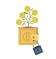 Bitcoin wallet growing with secure padlock vector