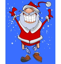 Cartoon character cheerful santa claus fun jumps vector