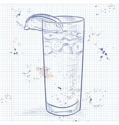 Cocktail dark and stormy on a notebook page vector