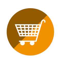 Color circular emblem with shopping cart icon vector