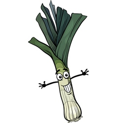 cute leek vegetable cartoon vector image vector image