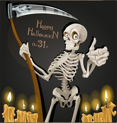 Death is a skeleton with a scythe halloween party vector