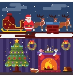 Flat Design New Year Landscape and Room Situation vector image vector image