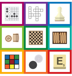 flat icon entertainment set of cube chess table vector image vector image