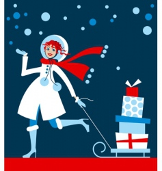 girl in Christmas shopping vector image