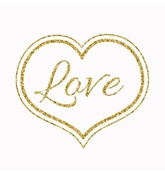 Gold Glitter Heart on White Background for a vector image vector image