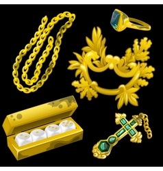 Golden jewelry as a decoration and for gambling vector