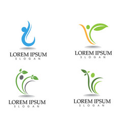 Health logo template and symbols leaf green vector