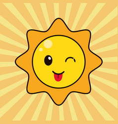 Kawaii sun character wink vector