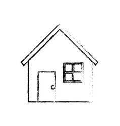 Line nice house with door window and roof vector