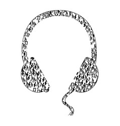 monochrome contour of headphones formed by musical vector image vector image