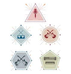 Musician Label and Badge with Icons vector image vector image
