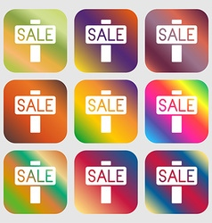 Sale price tag icon sign Nine buttons with bright vector image
