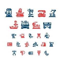 Set color icons of machine tool robotic industry vector