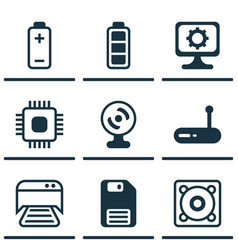 Set of 9 computer hardware icons includes web vector
