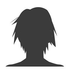 Silhouette head boy anime avatar image vector