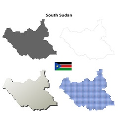 South sudan outline map set vector
