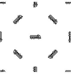 truck pattern seamless black vector image
