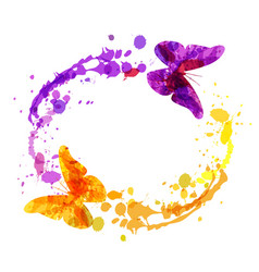 watercolor circular frame with butterflies vector image