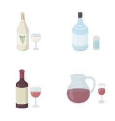 White wine red wine gin sangriaalcohol set vector