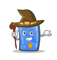 Witch credit card character cartoon vector