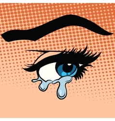 Woman eyes tears crying vector image