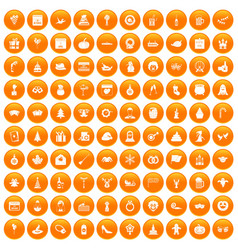 100 holidays icons set orange vector image vector image
