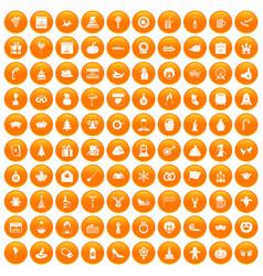 100 holidays icons set orange vector