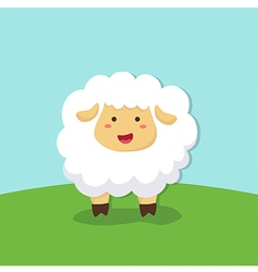 Cute sheep standing on field background vector