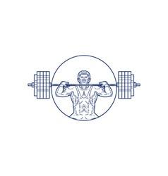 Strongman lifting weight mono line vector