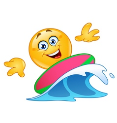 Surfing emoticon vector