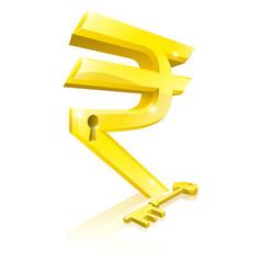 Rupee key lock concept vector