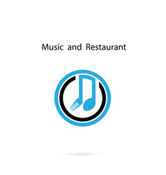 Spoon and fork icon with musical note logo vector