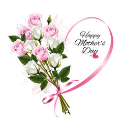 Happy mothers day note with colorful roses and vector