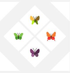 Flat monarch set of violet wing milkweed danaus vector